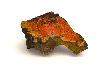Crocoite (lead chromate). 4.4cm across.