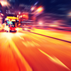 Abstract image of bus in motion blur.