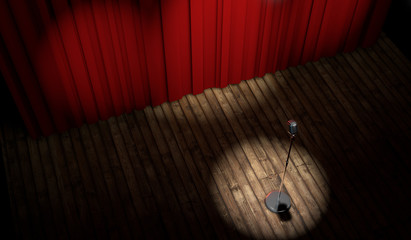 3d stage with red curtain and vintage microphone