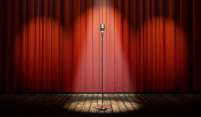 3d stage with red curtain and vintage microphone in spot light
