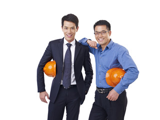 asian men with orange safety hat, isolated on white