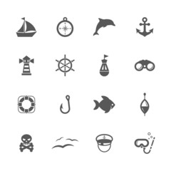 Sea icons set.