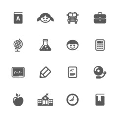 School icons set.