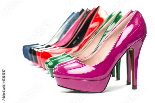 canvas print picture High heels pumps in different colors
