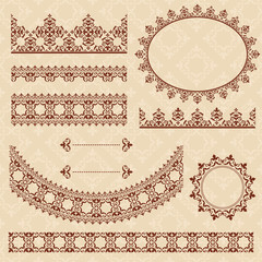 brown arabic ornamental elements - vector set