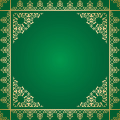 green background with vintage gold ornament - vector