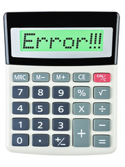 Calculator with Error on display on white background
