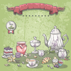 tea set with a jar of jam, muffins, pies and croissants
