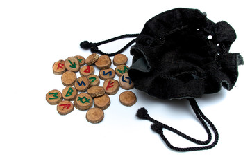 hand carved and painted wooden oak runes with open bag
