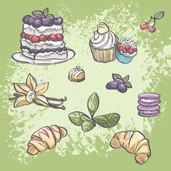 food croissants, blackberry pie, muffins, fruit and tea leaves