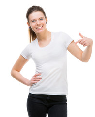 girl in blank white t-shirt