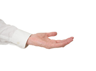 Extended hand. Older man, outstretched hand, white background