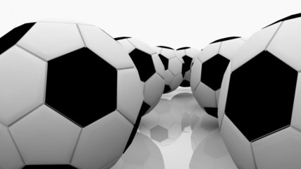 Soccer balls on a white