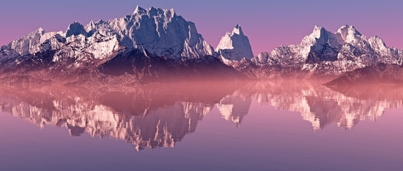 Snow peaks mountain landscape with misty lake at sunrise. Panora