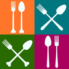 Spoons and forks colored squares background