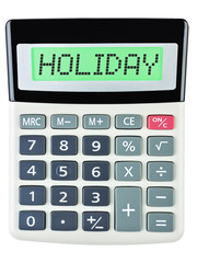 Calculator with HOLIDAY on display isolated on white background