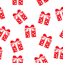 Seamless vector pattern with gift boxes