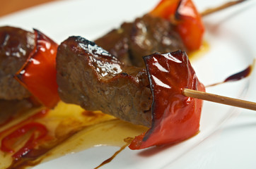 Shashlik (shish kebab) .veal and peppers