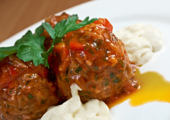 meatballs cooked with vegetables