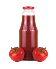 Bottle of tomato juice with two tomatoes isolated on white