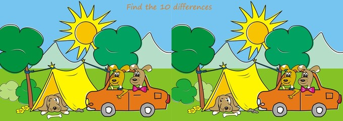 Find the ten differences - dogs and tent