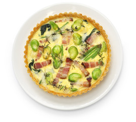 homemade quiche isolated on white background