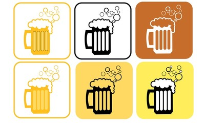 Set of 6 beer vector icons