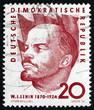Postage stamp GDR 1960 Vladimir Lenin, Portrait