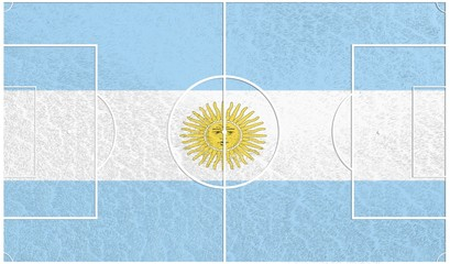 football field textured by argentina national flags