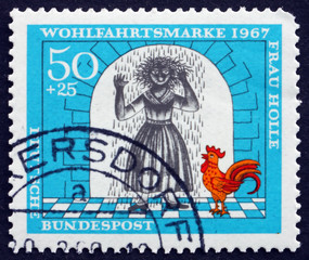 Postage stamp Germany 1967 Girl Covered with Resin, Scene from M