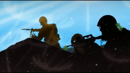 Scroll silhouettes soldiers in the field, blue sky background