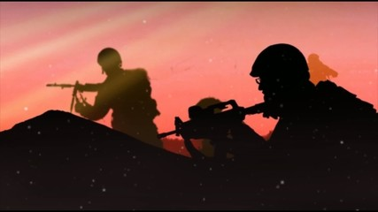 Scroll silhouettes soldiers in the field, orange sky background