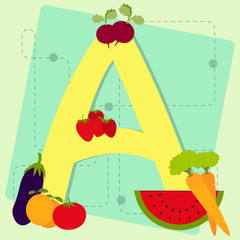 "Letter ""a"" from stylized alphabet with fruits and vegetables"