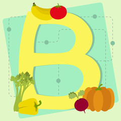 "Letter ""b"" from stylized alphabet with fruits and vegetables"