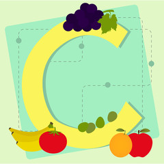 "Letter ""c"" from stylized alphabet with fruits and vegetables"