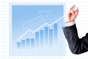 Increase sales with businessman hand graph
