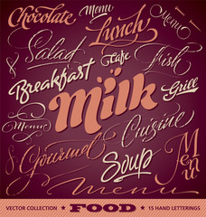 FOOD menu headlines set of 15 hand letterings (vector)