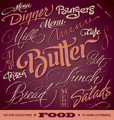 FOOD menu headlines set of 16 hand letterings (vector)