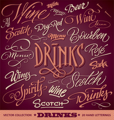 DRINKS menu headlines set of 20 hand letterings (vector)