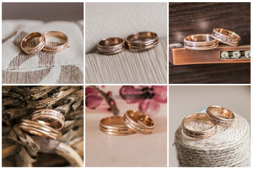 collage of beautiful wedding rings