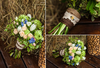 collage of beautiful wedding flowers