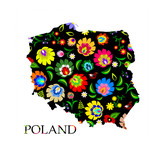 Fotoroleta Poland shape filled with traditional Polish folk pattern vector