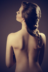 girl with naked back and hair-style