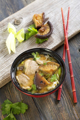 Miso soup with duck.