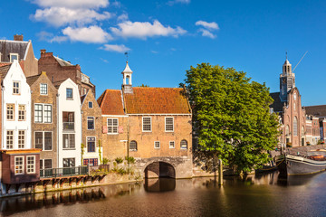 Medieval houses alongside a canal in Delfshaven, The Netherlands