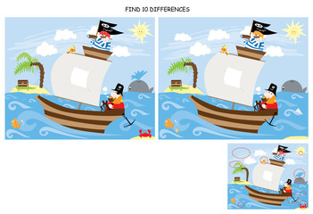 Find 10 differences - PIRATES / vectors for children/