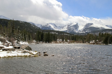 Rocky mountain lake and peaks