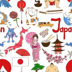 Sketch Japan seamless pattern