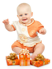Smiling baby with gifts
