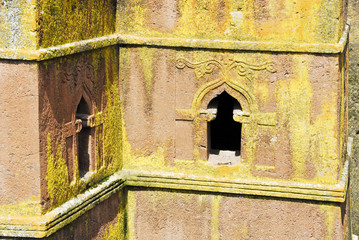 Detail of rock-hewn church of St. George, Lalibela (Ethiopia)